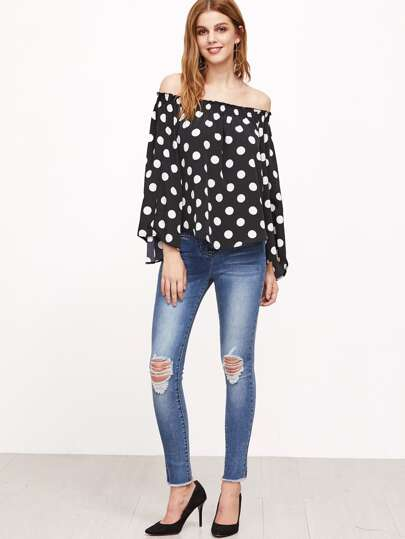 Black Polka Dot Print Off The Shoulder Top