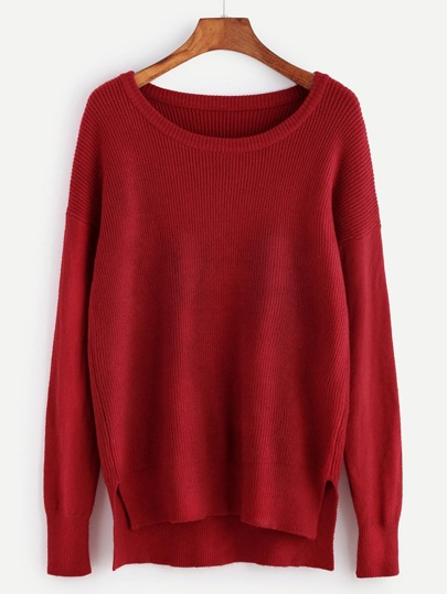 Red Ribbed Knit Slit High Low Sweater