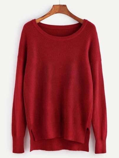 Pull tricoté à nervures découpé - rouge