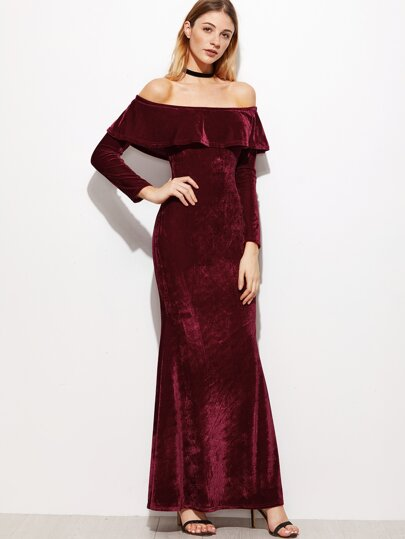 Burgundy Ruffle Off The Shoulder Velvet Fishtail Dress