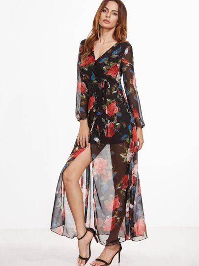 Black Floral Split Chiffon Warp Dress With Self Tie