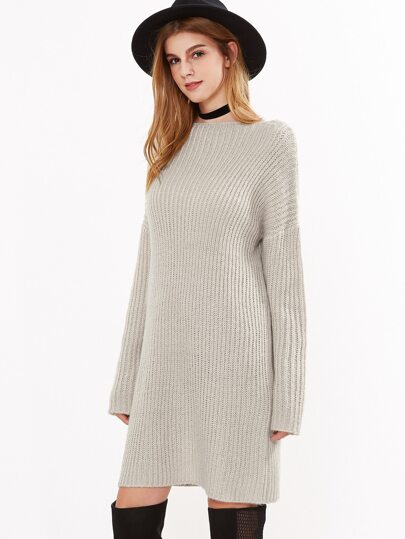 Apricot Ribbed Knit Lace Up Back Sweater Dress