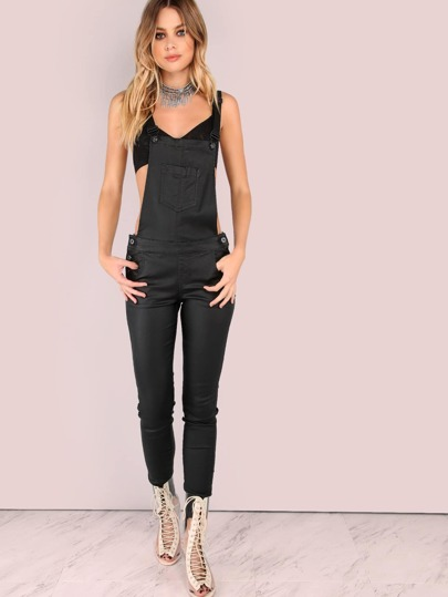 Faux Leather Coated Skinny Overalls