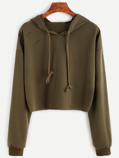 Khaki Drop Shoulder Ripped Drawstring Hooded Sweatshirt