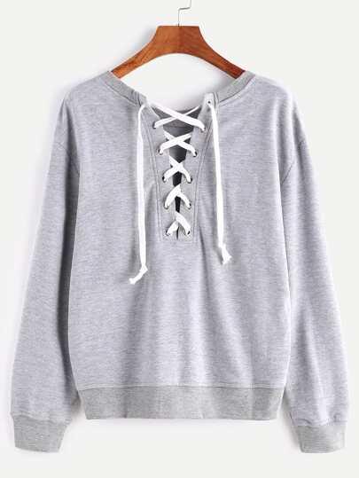 Heather Grey Lace Up Back Sweatshirt