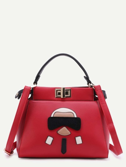 Red Cartoon Patch PU Handbag With Strap