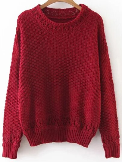 Red Hollow Out Crew Neck Sweater