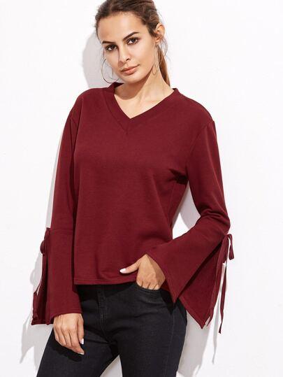 Burgundy V Neck Split Sleeve T-shirt