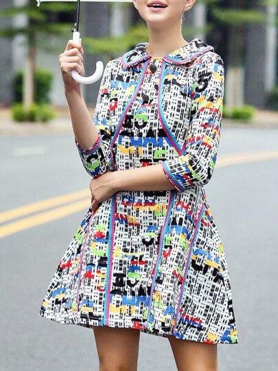 Vestido línea A con estampado - multicolor