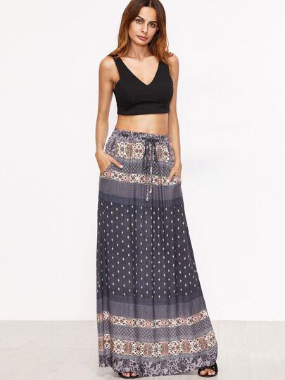Navy Tribal Print Drawstring Waist Skirt
