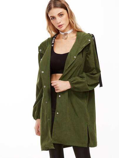 Army Green Split Side Drawstring Hooded Coat