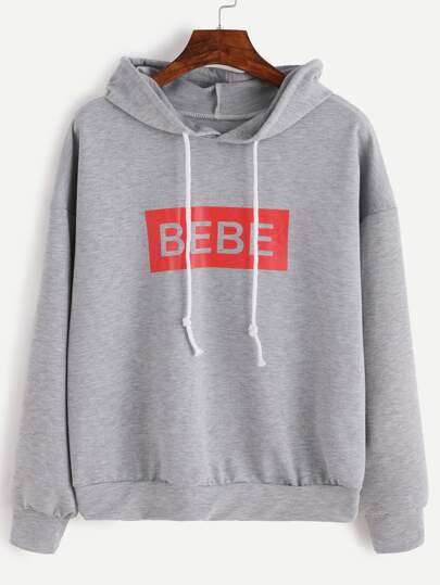 Grey Letter Print Hooded Sweatshirt