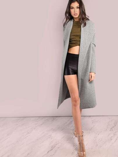 Longline Tailored Wool Coat GREY