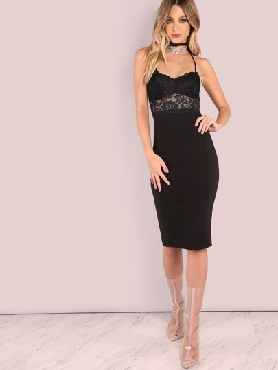 Lace Applique Bodycon Dress BLACK