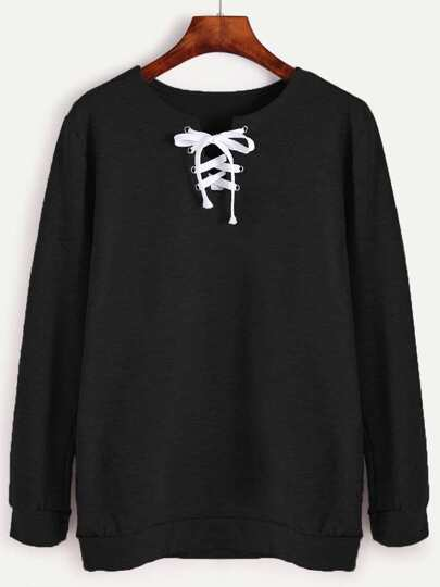 Black Lace Up Long Sleeve Sweatshirt