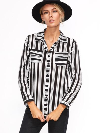 Contrast Striped Roll Tab Sleeve Shirt