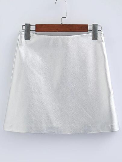 Silver PU Mini Skirt