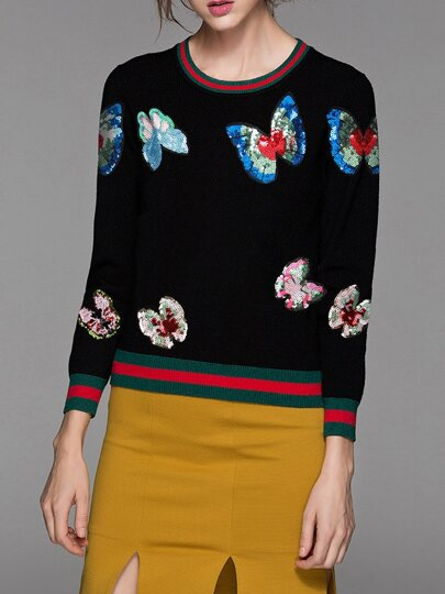 Black Butterfly Sequined Striped Sweater