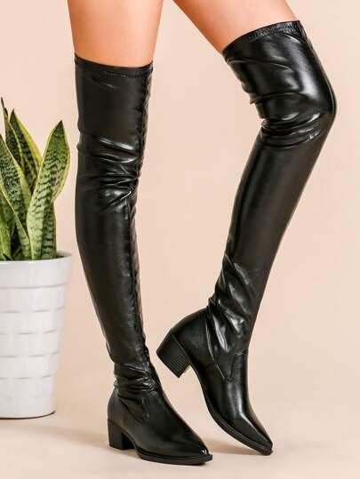 Oberschenkel hohe klobige Stiefel Spitze Zehe PU-schwarz