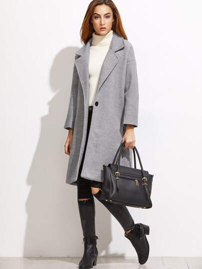 Grey Striped Drop Shoulder Coat