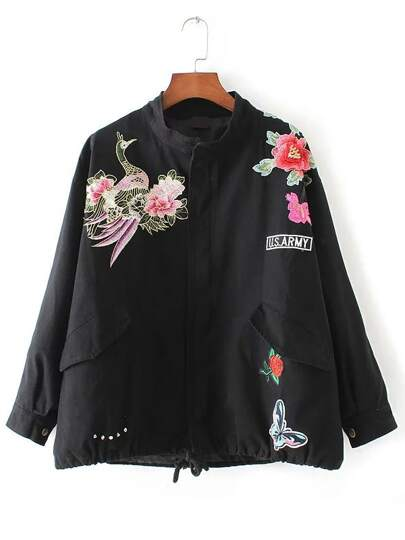 Black Floral Embroidery Drawstring Pocket Coat
