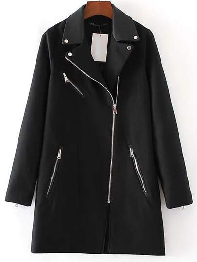 Black Lapel Oblique Zipper Long Coat