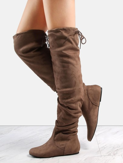 Flat Faux Suede Slouchy Boots DARK TAUPE