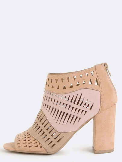 Tribal Cut Out Suede Booties BLUSH