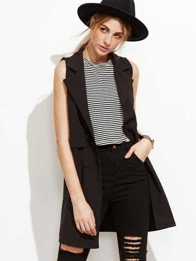 Black Single Breasted Sleeveless Blazer