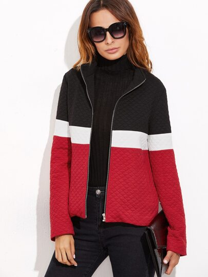 Color Block Zip Up Quilted Jacket