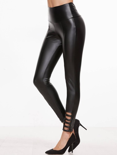 Black Ladder Cutout Coated Leggings