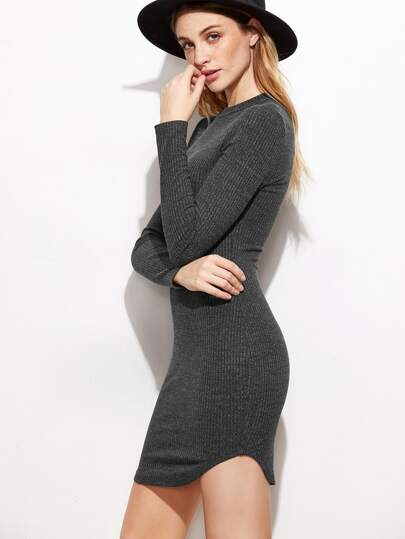 Heather Grey Ribbed Knit Curved Hem Bodycon Dress