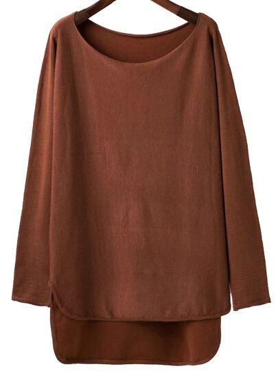 Brown Scoop Neck Dip Hem Knitwear