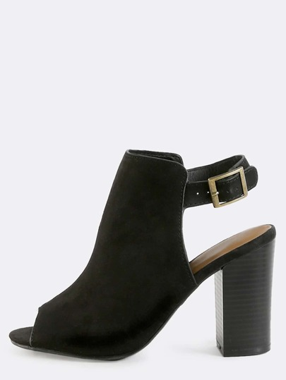 Open Toe Suede Ankle Booties BLACK
