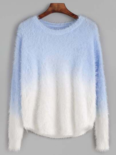 Ombre Drop Shoulder Curved Hem Fuzzy Sweater