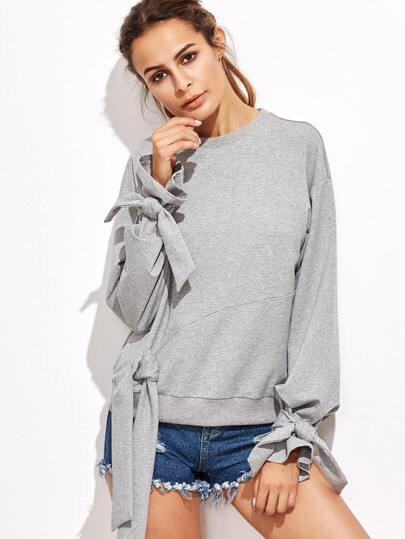 Heather Grey Cut And Sew Sweatshirt With Bow Tie Detail