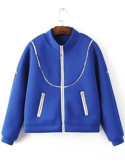 Blue Contrast Trim Zipper Up Jacket