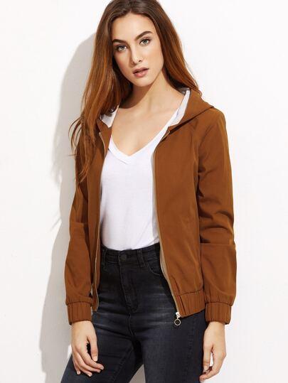 Brown Zip Up Hooded Jacket