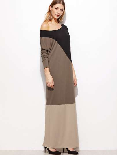 Color Block Cut And Sew Drop Shoulder Maxi Dress