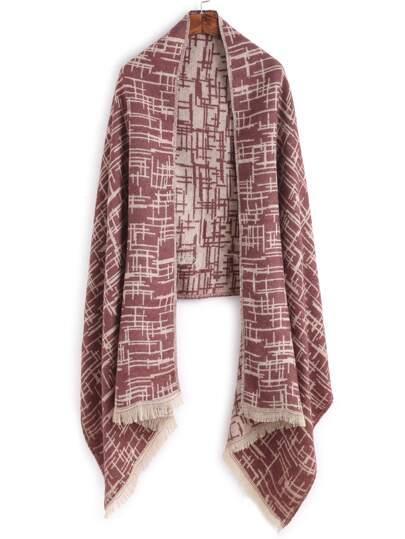 Кофейный модный шарф с принтом и бахромой