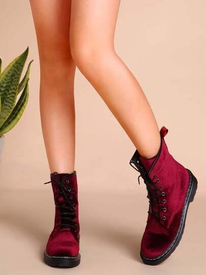 Velvet Lace Up Short Boots WINE