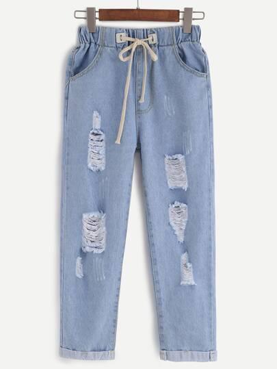 Denim Hose mit Tunnelzug - blau