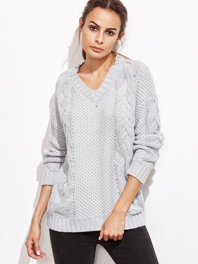 Grey V Neck Drop Shoulder Cable Knit Sweater