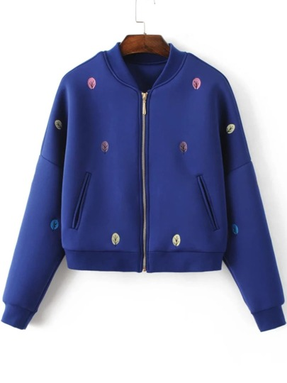 Blue Tree Embroidery Drop Shoulder Zipper Jacket