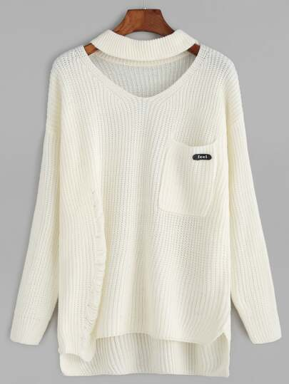 Beige Choker Neck Ripped Detail Pocket Sweater