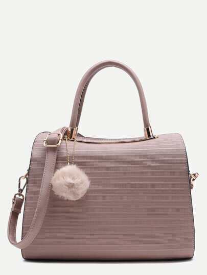 Pom Pom Embossed PU Bowling Bag