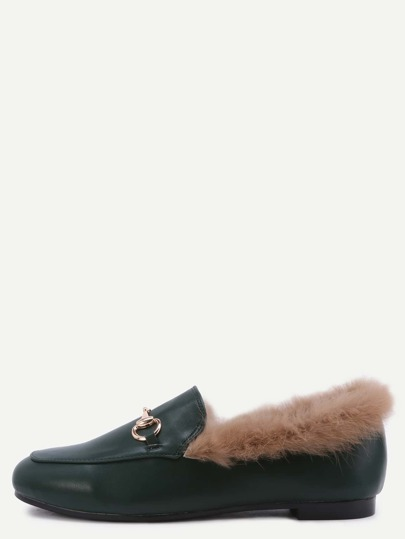 Green PU Genuine Fur Lined Loafers