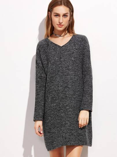 Black V Neck Slub Drop Shoulder Shift Dress