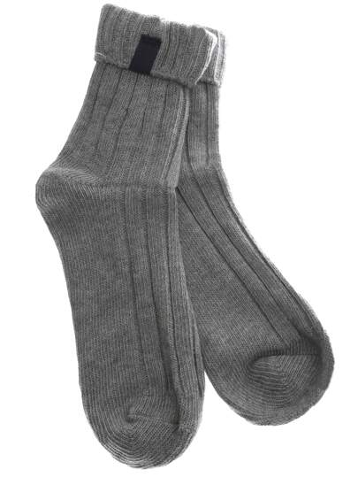 Grey Casual Ribbed Foldover Socks