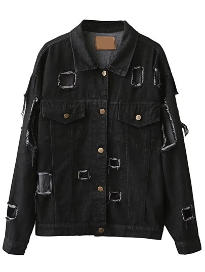 Black Single Breasted Ripped Denim Jacket